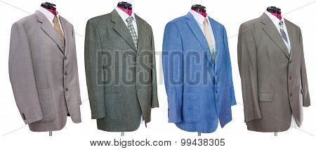 Various Jackets With Shirts And Ties Isolated