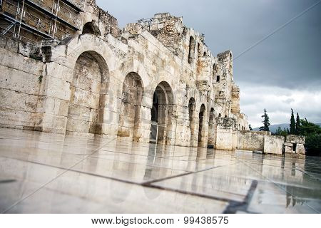 Odeon of Herodes Atticus in Athens and Acropolis,Greece