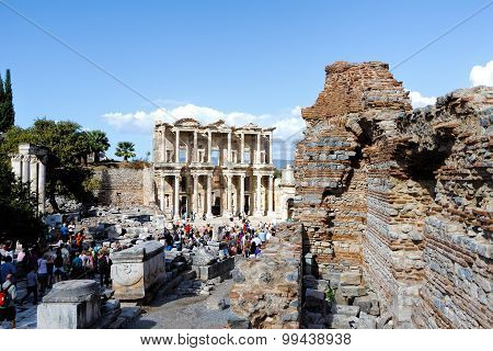 Facade of ancient Celsus Library in Ephesus, Turkey
