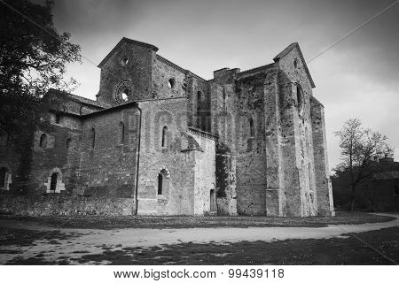 Monochromatic Photo Of The Abbey Of Saint Galgano