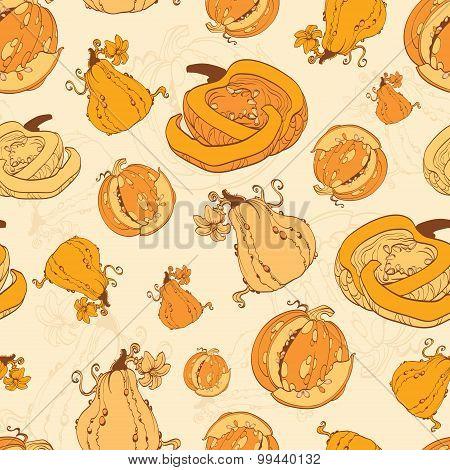 Vector Autumn Pumpkins Harvest Seamless Pattern. Pumpkin patch