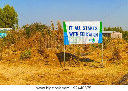 Sign By The Road In Bahir Dar