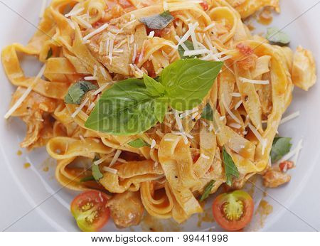Fettuccine Pasta with Chicken and Vegetables