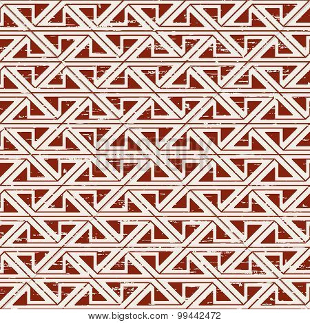 Seamless worn out aboriginal triangle geometry pattern background.