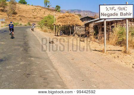 Road Sign To Negade Bahir Village In Ethiopia.