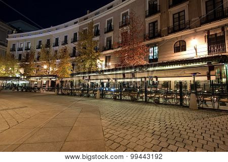 Cafe located on border of the Plaza de Oriente, Madrid, Spain