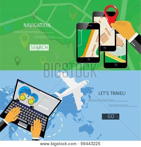 Vector flat concept of World travel and tourism.