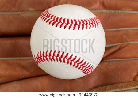 Used Baseball And Glove In Filled Frame Format