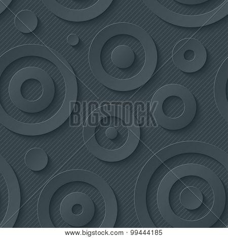Dark circles walpaper. 3d seamless background. Vector EPS10.