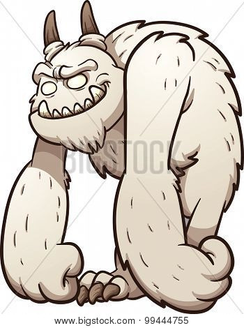 Friendly cartoon monster. Vector clip art illustration with simple gradients. All in a single layer.