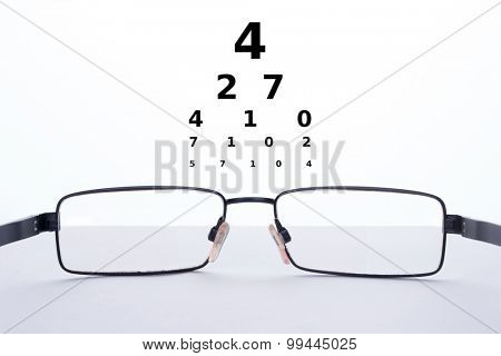 Eyeglasses on a table and numbers for a Snellen test on a white background