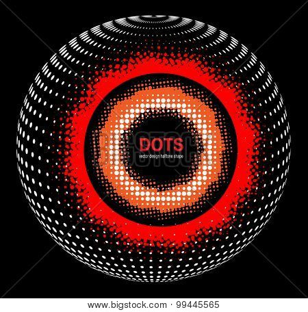 Abstract Halftone sphere, vector 3D design.