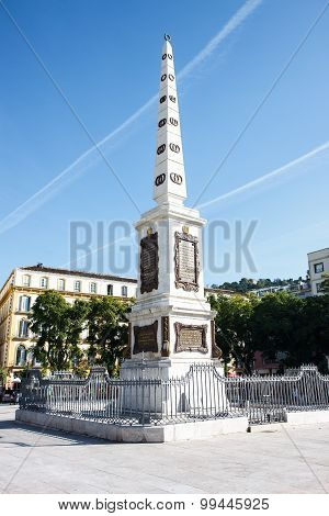 Obelisk At Plaza De La Merced, Malaga, Spain