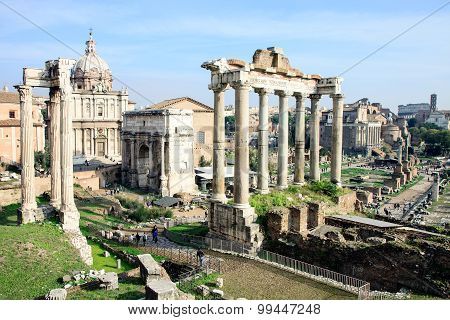 View of ruins in Roman Forum, Rome, Italy