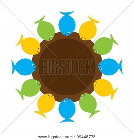 colorful fish sticker or label design