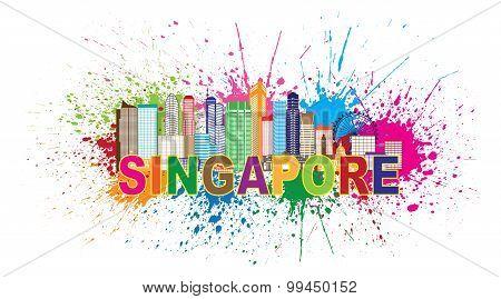 Singapore City Skyline Paint Splatter Illustration