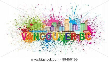 Vancouver Bc Skyline Paint Splatter Illustration