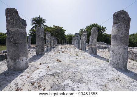 Stone Columns At Maya Ruins El Rey