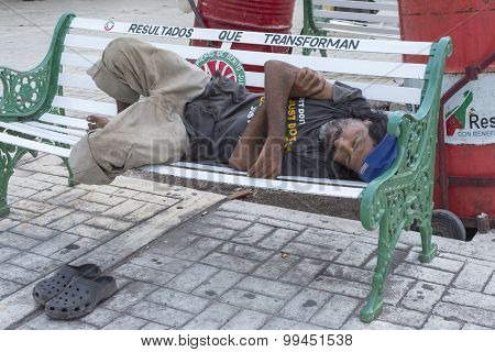 Homeless Man Resting In Mexico