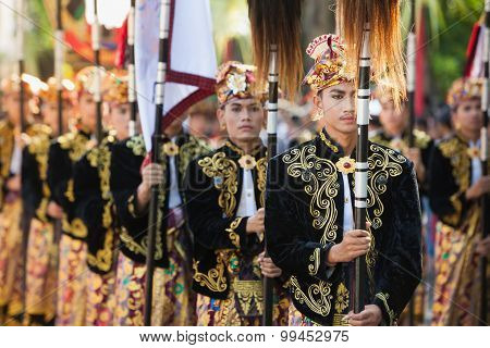 Balinese Young Males In Traditional Costumes