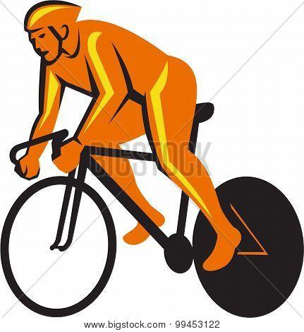 Cyclist Riding Cycling Racing Retro