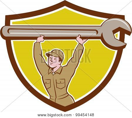 Mechanic Lifting Spanner Wrench Crest Cartoon