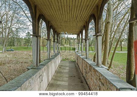 A Long Corridor To The Building