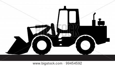 Silhouette the loader on a white background.