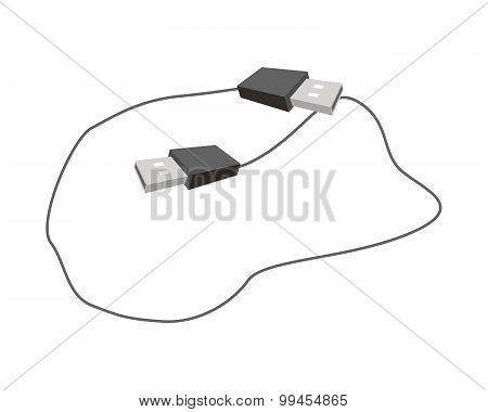 Black USB Plugs on A White Background