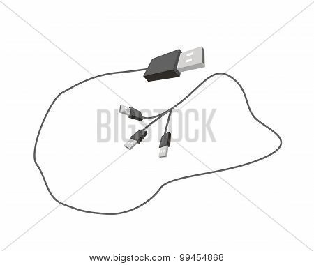 Universal Serial Bus Cable on White Background