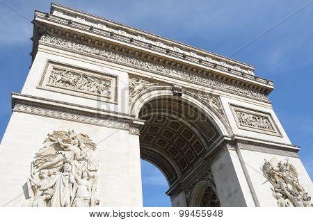 Looking up at arc de triomphe Paris france