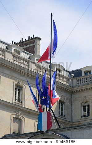French flags at front of government building