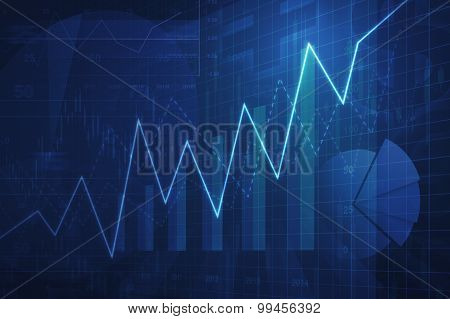 Growth Graph With Financial Chart And Graph, Success Business