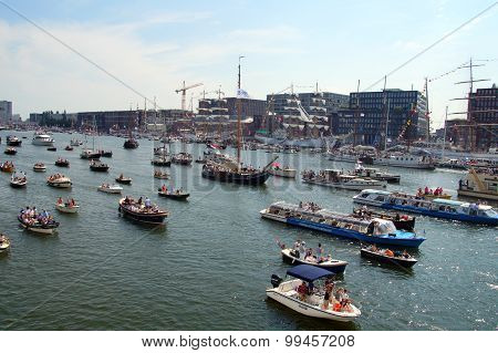 View over IJ harbor during SAIL Amsterdam 2015