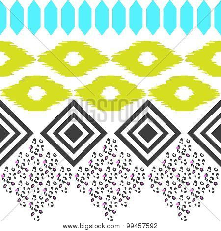 Geometric ethnic border pattern. Ikat rhombus and leopard skin ornament in eclectic style.