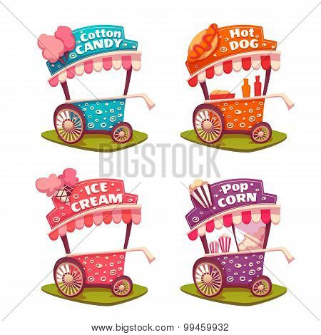 Set of fast food carts. Icecream, cotton candy, pop corn, hotdog