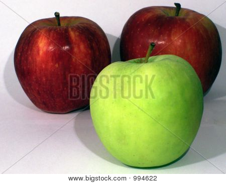 Three Apples Green And Red
