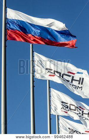 Flags At Sochi Autodrom.