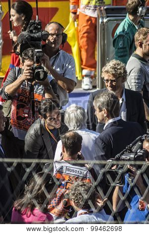 Hermann Tilke, Bernie Ecclestone. Before The Start Of The First Grand Prix Of Russia.