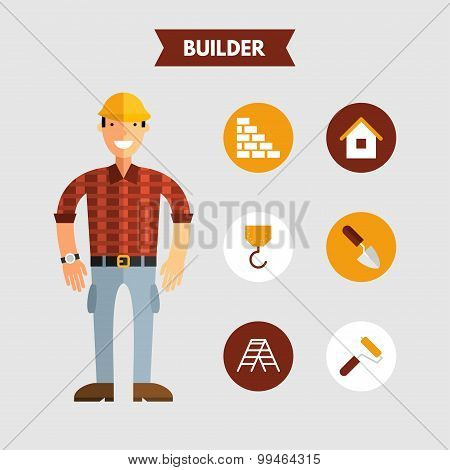 Flat Design Vector Illustration Of Builder With Icon Set. Infographic Design Elements