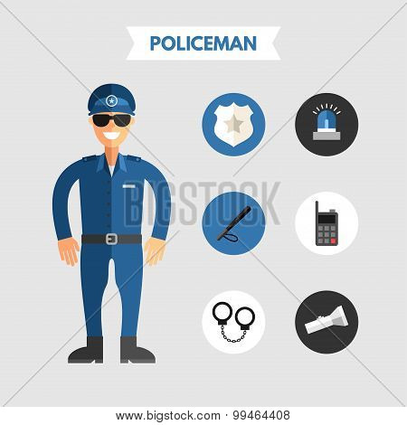 Flat Design Vector Illustration Of Policeman With Icon Set. Infographic Design Elements