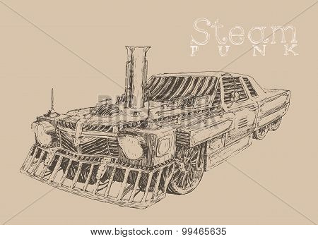 Steam punk car engraving style, hand drawn