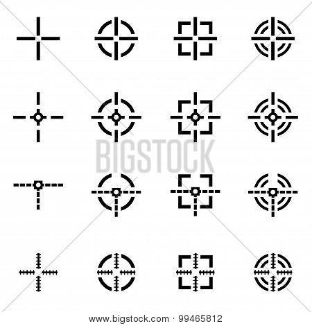 Vector Black Crosshair Icon Set