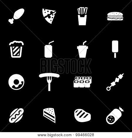Vector White Fastfood Icon Set