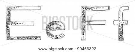 E F Vanda Freehand Pencil Sketch Font