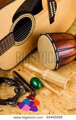 Set Of Various Music Instruments On Osb Board