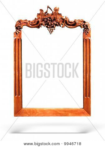 Wooden Frame With Grapes Ornament Isolated Over White