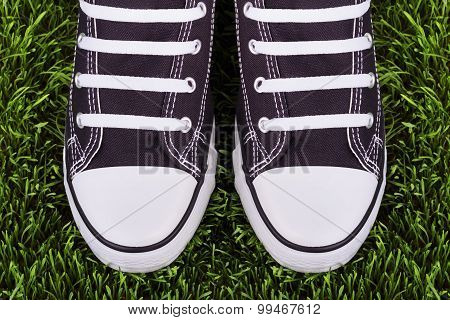 Pair Of Black And White Sneakers On Green Meadow