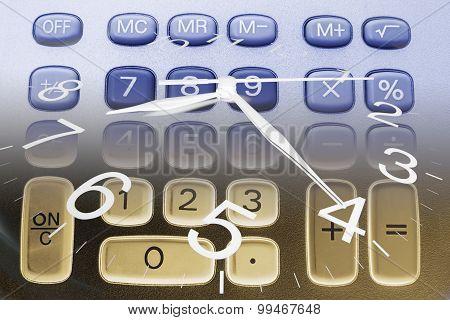 Clock Hands And Calculator Keys