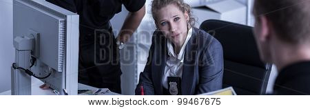 Female Inspector And Policemen